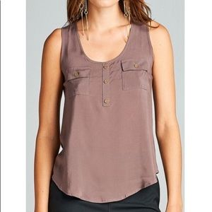 Taupe Double Pocket Buttoned Blouse